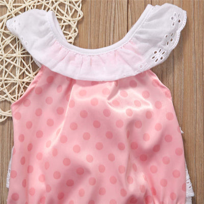 Summer Pink Baby Girl Clothes Cute Newborn Infant Baby Lace Dot Romper Toddler Kids Jumpsuit Outfit Sunsuit 0-24M