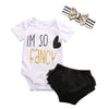 Baby Girl Kids Clothes born Short Sleeve Cotton Romper headband Short Outfit Sets