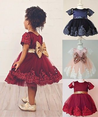 Autumn Girl Dress Floral Long Sleeve Princess Baby Girls Lace Dresses Christmas Toddler Lace Wedding Bridesmaid Princess Formal