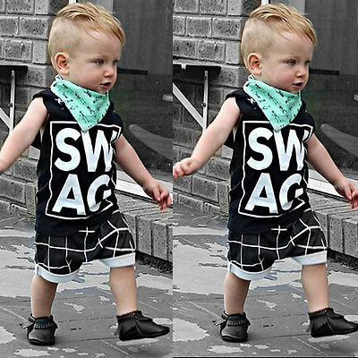 Summer kids clothes sets boy Sleeveless Letter t-shirt Plaid shorts clothing set For Summer