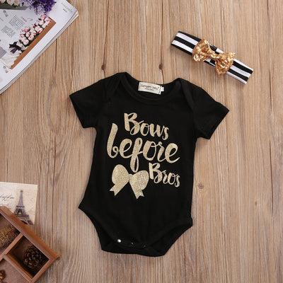 2Pcs/Set ! New Infant Newborn Baby Girl Short Sleeve Cotton Romper Jumpsuit Clothes Outfit Sun-suit
