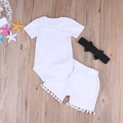 Cute Newborn Baby Girl Cotton Letter Printed Short Sleeve Romper +Sequin Pants +Headband 3PCS Outfits Set Clothes 0-24M