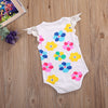 Summer born Baby Girls Sleeveless Lace Romper Colorful Cloud and Geometric Printed Jumpsuit Outfits Clothes