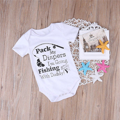 Cotton Newborn Baby Girl Boy Short Sleeve Letter Printed Romper Jumpsuit Outfits Sun suit