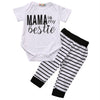 Summer Newborn Baby Boy Girls Outfit Short Sleeve T-shirt+Striped Pants Trousers Clothes Set 0-24M