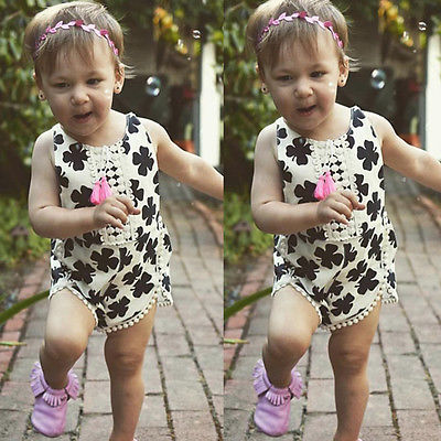 Cute Newborn Baby Girls Clover Romper Clothes Summer Sleeveless Backless Halter Jumpsuit Outfits Kids Sun suit