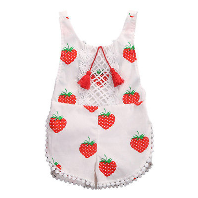 Kids Sunsuit Clothing Newborn Baby Girls Tassel Romper Clothes Strawberry Sleeveless Backless Halter Jumpsuit Outfits Toddler