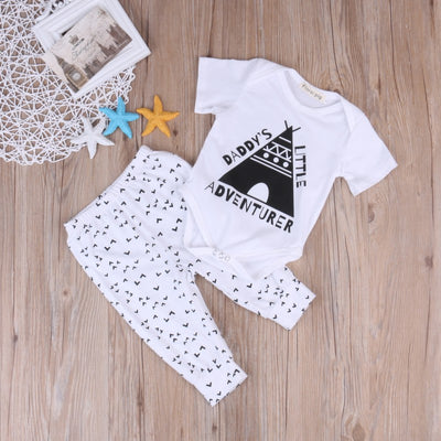 Newborn Baby Boy Girl Clothes printing Cotton Romper + Pant Outfit Clothing Set