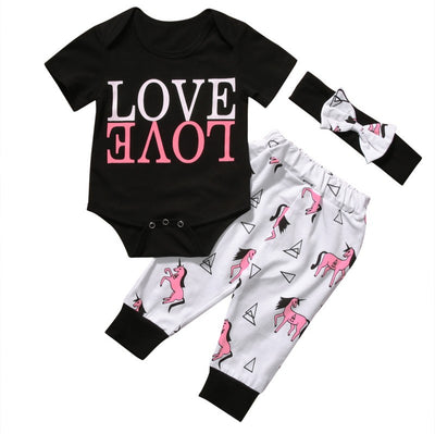 3PCS Newborn Baby Boy Girl Clothes Summer LOVE Cotton Romper + Pant +Headband Outfit Clothing Set