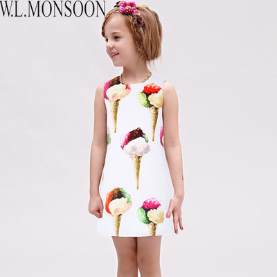 Girls Dress Summer Princess Dress Costume for Kids Clothes Children Ice Cream Dresses