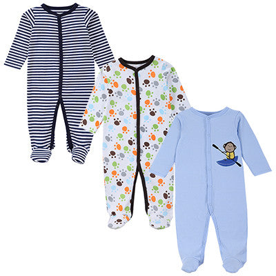 Baby Romper Long Sleeves 100% Cotton Baby Pajamas Cartoon Printed Newborn Baby Girls Boys Clothes