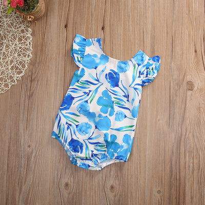 Lovely Newborn Baby Girls Floral Romper Clothes Ruffles Sleeve Rompers Playsuit Toddler Kids Jumpsuit Outfit Sunsuit