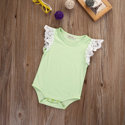 Lace Baby Girl Clothes Short Sleeve Romper Candy Color Jumpsuit Toddler Romper Outfits