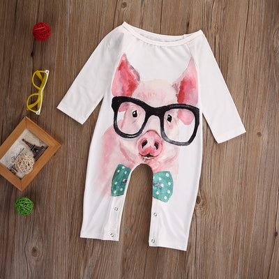 Newborn Infant Kid Baby Girls Long Sleeve Romper Pink Pig Jumpsuit Outfits Sun suit Clothes