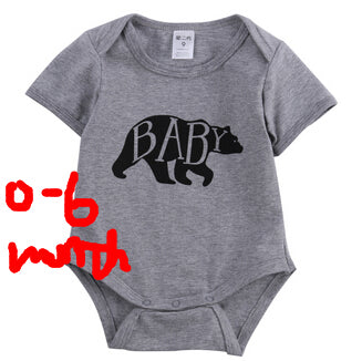 Family fitted Mom and Baby Clothes Mama Bear Short Sleeve Cotton Tee and Baby Bear Rompers Matching Set