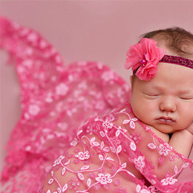 Embroidery Lace Baby Photography Props Newborn Wraps Flower Photo props Accessor