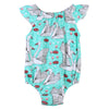 Cute born Baby Girl Romper Clothes crane Print Infant Baby Fly Sleeve One-pieces Toddler Kids Jumpsuit Outfits Sunsuit