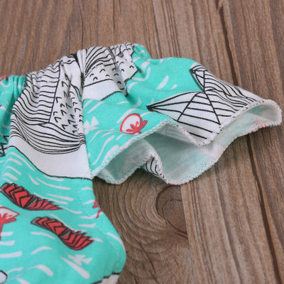 Cute Newborn Baby Girl Romper Clothes crane Print Infant Baby Fly Sleeve One-pieces Toddler Kids Jumpsuit Outfits Sunsuit