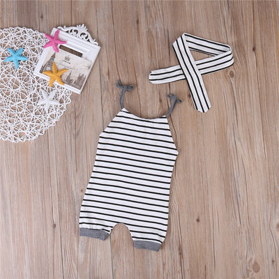 2PCS/Set Newborn Baby Boy Girl Clothes Children Summer Sleeveless Strip Romper +Headband 2PCS Outfit Casual Sunsuit