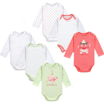 6 Pieces Long Sleeve Baby Romper Cute Infant Underwear Winter Newborn Baby Clothes Next Body