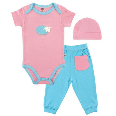 Bamboo cotton Layette Set,  Back Pocket Pants and baby girl romper bodysuit clothing set
