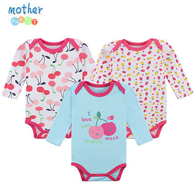 Stlyish 3 Pcs Long Sleeve Baby Bodysuit