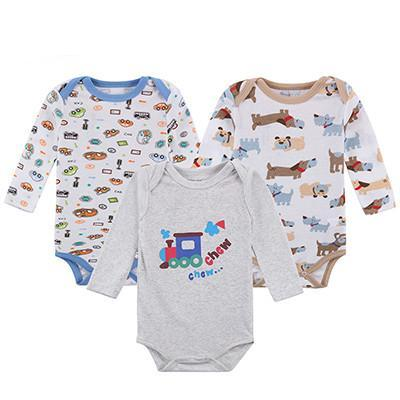 3 Pcs Baby Rompers Long Sleeve 100% Cotton Baby Clothes Babies Jumpsuits Clothing Sets Comfortable Baby Rompers