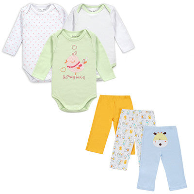 Baby Girl Clothing Set Long Sleeves Baby Wear Spring Autumn Casual 100% Cotton Set Romper+Trousers