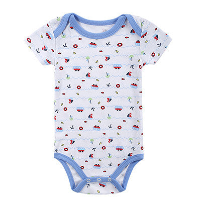 Boys Girls Rompers Short Sleeve Cotton Baby Infant Cartoon Animal Newborn Clothing Rompers Outfits Toddler Kid Clothes