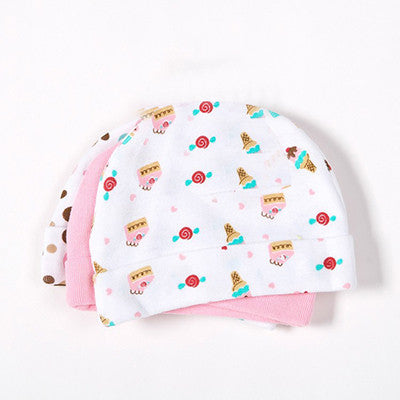 3 Pieces Baby Cap Girls Boys for Newborn Infant Cap Cotton Hat Star Printed Skull Cap Toddler Boys & Girls Hats