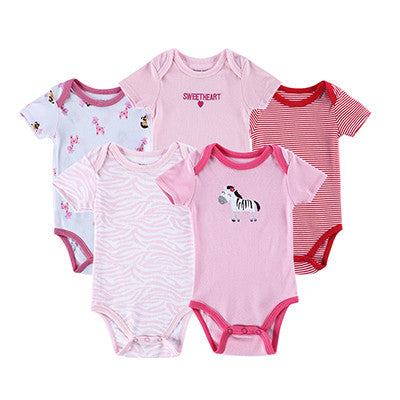 5 pcs Baby Bodysuit 100% Cotton Toddler Jumpsuit Spring Baby Girls Boys Newborn Baby Overall Clothes