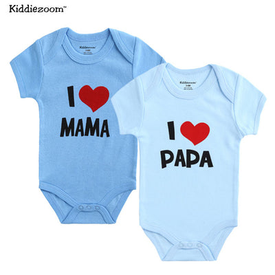 Baby Newborn Boy Clothes 2Pcs/lot 100% Cotton I love Design Printing Baby Girl Clothing Brief Rompers