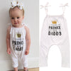 Summer born Baby Girl Belt Romper Summer Sleeveless Daddy is My Prince Letter Print Cotton One Pieces Outfits Sunsuit