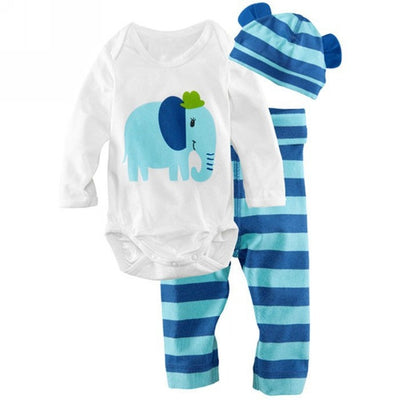 Baby boy clothes New Sets cotton baby girl clothes  Long-sleeved Romper hat pants kids clothes
