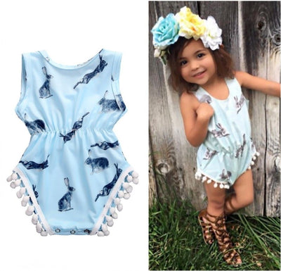 Summer Newborn Baby Girls Sleeveless Bunny rabbit Romper Jumper Tassel Jumpsuit Sun suit Clothes