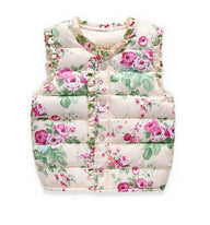 Autumn Spring Fashion Children's Jackets Sweet Floral Down Cotton Warm Girls Vest Kids Waistcoat Baby Girl Clothes