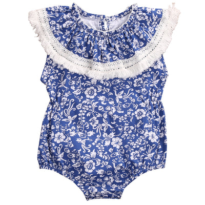 Newborn Baby Girl Romper blue and white porcelain Romper Kids Jumpsuit Outfits Sun suit One Pieces
