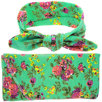 2Pcs/Set Newborn Baby Floral Swaddle Wrap Swaddling Sleeping Bag Blanket+ Headband