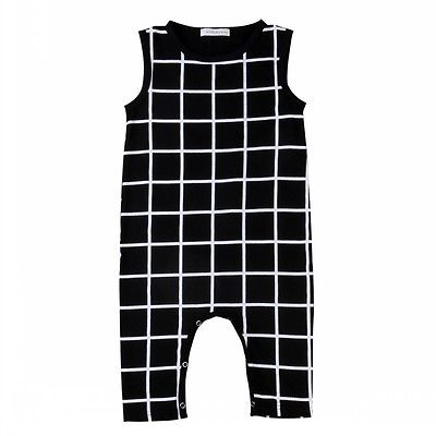 Summer New Baby Kids Romper Unisex Sleeveless Plaid Romper Jumpsuit Outfits Costume