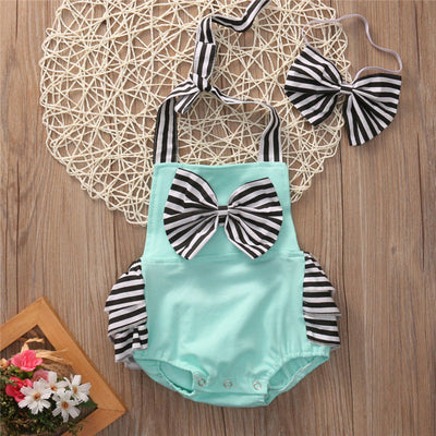 2Pcs/Set Cute Newborn Toddler Baby Boy Girl Clothes Sleeveless Romper Halter bow-knot Jumpsuit Sunsuit Outfits CA