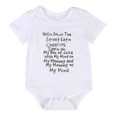 Newborn Baby Boy Girl Letters Romper down the street Jumpsuit Outfits Summer Clothes