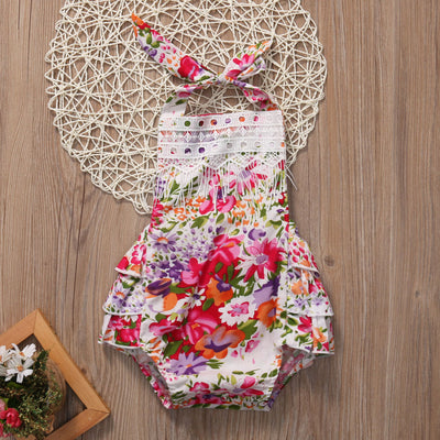 Newborn Infant Baby Girl Floral Lace Belt Halter Romper Backless Jumpsuit Outfit Sun suit Clothes
