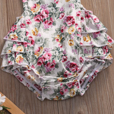 Newborn Baby Girl Floral Halter Romper Summer Sleeveless  Ruffles Backless Toddler Jumpsuit+Headband Outfits Sun suit