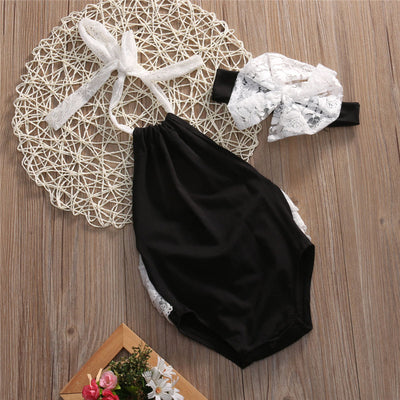 2PCS Newborn Baby Boy Girl Clothes Children Summer Sleeveless Lace Backless Romper+bow-knot Headband 2PCS Outfit Casual Sunsuit
