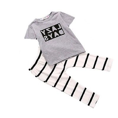New summer clothing sets kids Baby Boy Girl Clothes Letter T-shirt Tops+ Strriped Pants Outfits Set