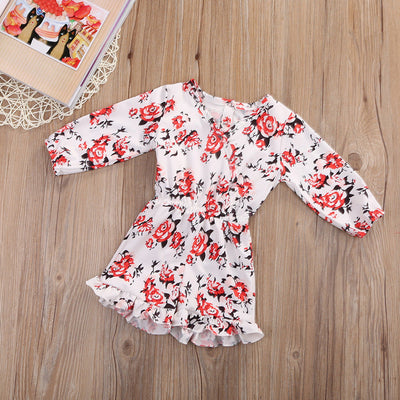 Infant Baby Girl Clothing Kid Floral Long Sleeve V-Neck Romper Jumpsuit Outfits Sunsuits Clothes
