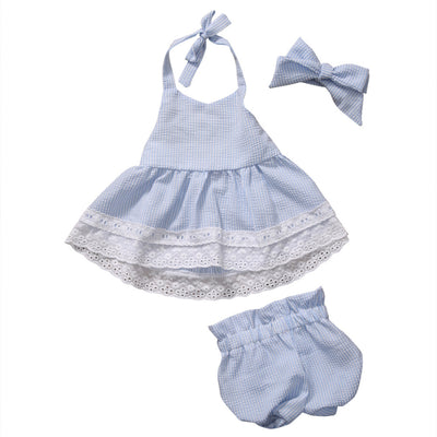 2pcs Newborn Baby Girls Bow-knot Clothes Summer Striped Vest Tops + Bottoms Outfit Toddler Kids Clothing Set