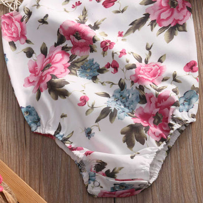 Summer Newborn Infant Baby Girl Floral Doll collar Romper Jumpsuit +Headband Outfits Sun suit Clothes