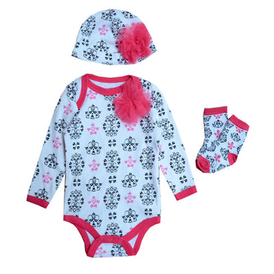 Baby Girls Clothing Set Long Sleeve Rompers Baby Bodysuits Hat Socks Clothes Set