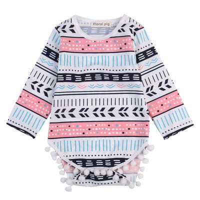 Autumn Newborn Infant Baby Girls Floral Cotton Long Sleeve Tassel Romper Geometric Jumpsuit Clothes Outfits